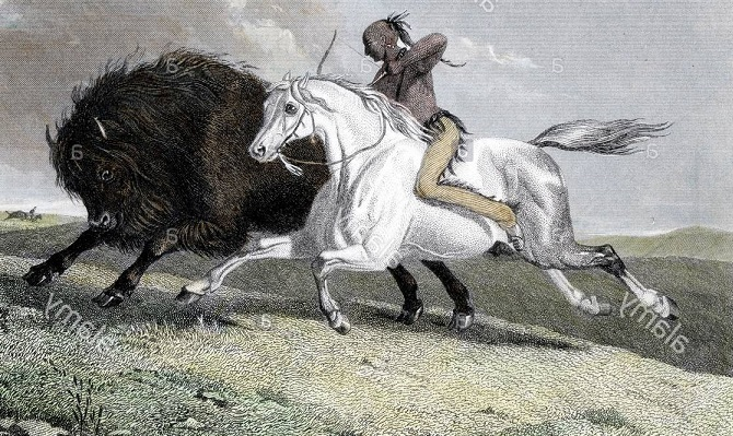 horse-mounted buffalo hunters