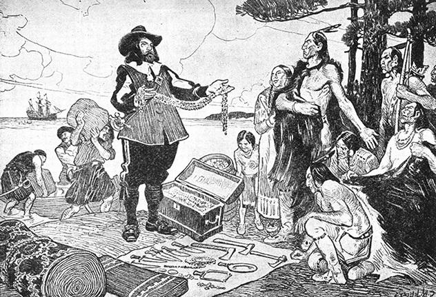 Native American-European fur trade exchange