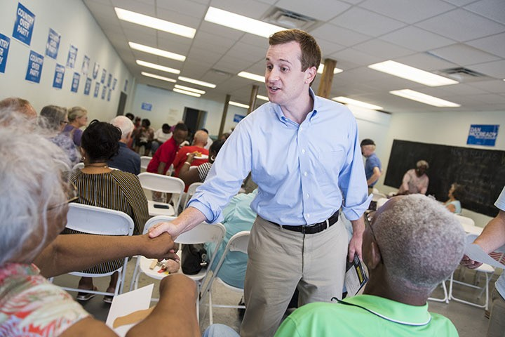 UNITED STATES - AUGUST 10: Dan McCready, Democratic candidate for North Carolina's 9th District, talks with voters at his campaign office during his education tour in Elizabethtown, N.C., on Friday, August 10, 2019. (Photo By Tom Williams/CQ Roll Call)