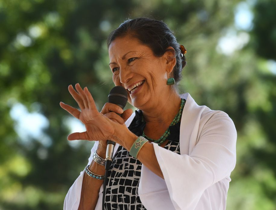 Native American candidate Deb Haaland who is running for Congress in New Mexico's 1st congressional district seat for the upcoming mid-term elections, speaks in Albuquerque, New Mexico on October 1, 2018. - If Haaland is successful she will be the first Native American woman to hold a seat in the United States House of Representatives. The seat is currently held by Michelle Lujan Grisham who will now run for Governor of the state. (Photo by Mark RALSTON / AFP) (Photo credit should read MARK RALSTON/AFP/Getty Images)