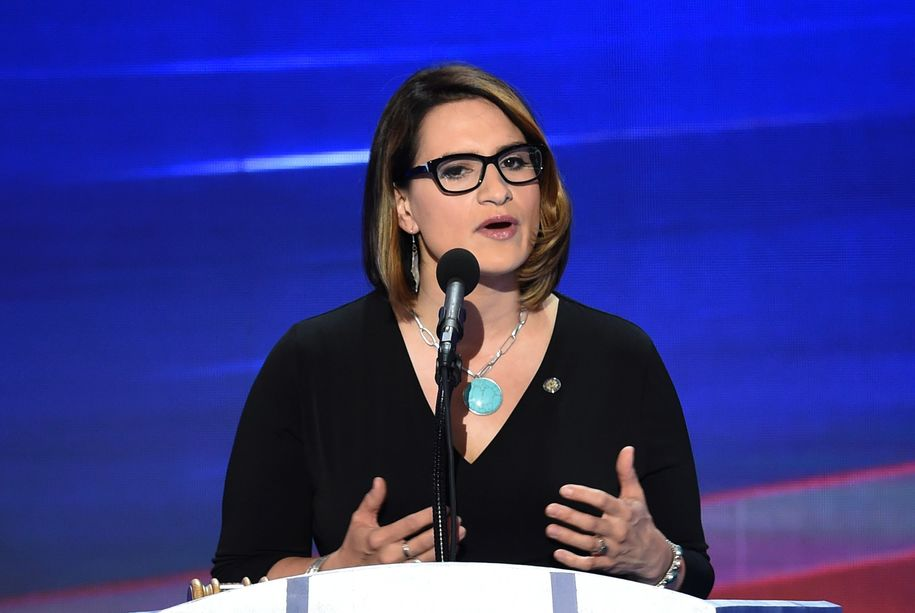 Minnesota State Representative Peggy Flanagan speaks during the final day of the 2016 Democratic National Convention on July 28, 2016, at the Wells Fargo Center in Philadelphia, Pennsylvania. / AFP / SAUL LOEB (Photo credit should read SAUL LOEB/AFP/Getty Images)